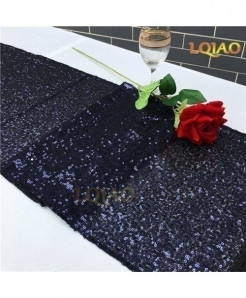 Navy Blue Dotted Pattern Sequin Table Runner W30xL300cm