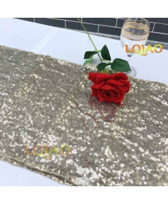 Light Gold Dotted Pattern Sequin Table Runner W30xL300cm