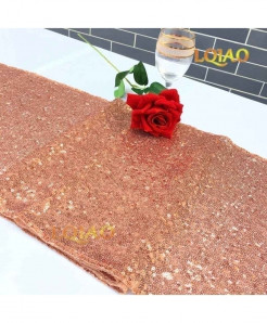Rose Gold Dotted Pattern Sequin Table Runner W30xL300cm
