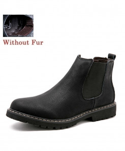 Black Without Fur Stitched Design Slip-on Boots