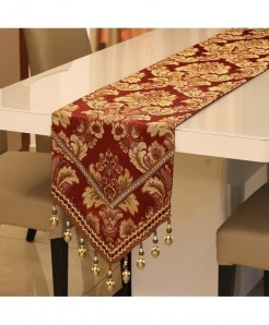 Red Proud Rose Pendant European Table Runner 32x210cm