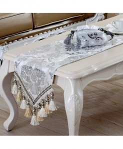 White Luxury European Silver Plating Bead Tassels Table Runner 32x220cm