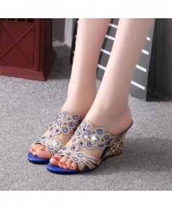 Blue Crystal Casual High Heel Sandals