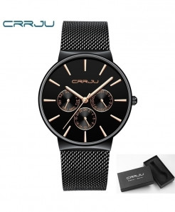 Black Waterproof Ultra Thin Date Wrist Watch
