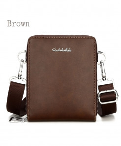 FEIDIKABOLO Brown Double Zipper Crossbody  Bag