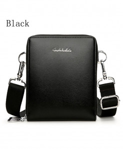 FEIDIKABOLO Black Double Zipper Crossbody Bag