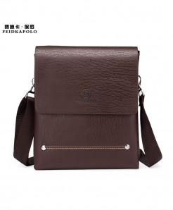 FEIDIKABOLO Brown Bilayer Leather Messenger Bag