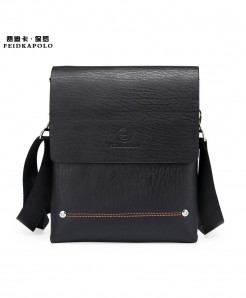 FEIDIKABOLO Black Bilayer Leather Messenger Bag