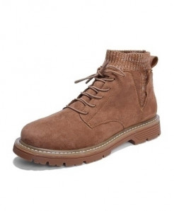 SHANGCATS Brown Stitched Design Stylish Casual Boots