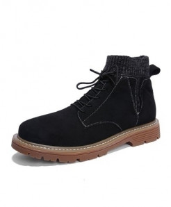 SHANGCATS Black Stitched Design Stylish Casual Boots