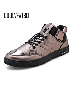 COOLVFATBO Silver Shallow Lace-up Casual Sneakers