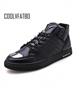 COOLVFATBO Black Shallow Lace-up Casual Sneakers