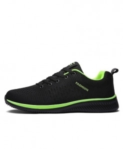 JUNJARM Black Green Lace-up Lightweight Casual Shoes