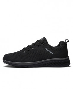 JUNJARM Black Lace-up Lightweight Casual Shoes