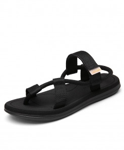 Redhollow Black Breathable Clip Toe Dual-purpose Sandal