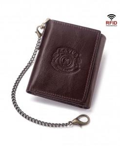 KAVIS Rfid Coffee Genuine Leather Wallet