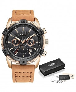LIGE Casual Leather Waterproof Chronograph Sport Quartz Watch