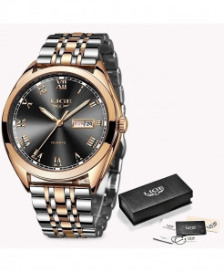 LIGE Rose Gold Black Chronograph Stainless Steel Waterproof Watch