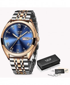 LIGE Rose Gold Blue Chronograph Stainless Steel Waterproof Watch