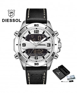 DIESSOL Silver White Analog Casual Leather Military Waterproof Wrist Watch