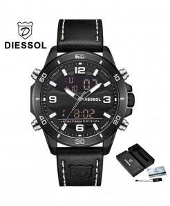 DIESSOL Black Analog Casual Leather Military Waterproof Wrist Watch