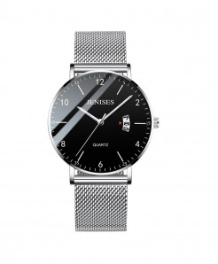 Jenises Silver Slim Mesh Steel Waterproof Casual Quartz Watch