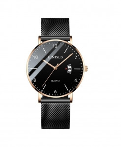 Jenises Black Gold Slim Mesh Steel Waterproof Casual Quartz Watch