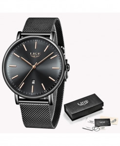 LIGE Gold Black Stainless Steel Casual Quartz Wristwatch