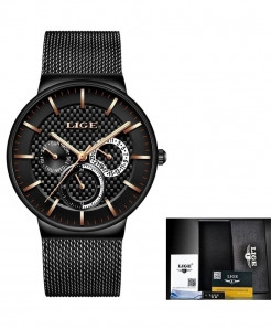 LIGE Black Stainless Steel Casual Quartz Wristwatch