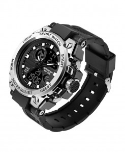 Sanda Silver Sports LED Digital Waterproof Military Watch