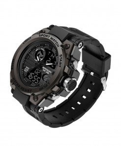 Sanda Black Sport LED Digital Waterproof Military Watch