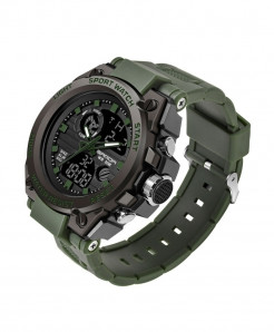 Sanda Army Green Sports LED Digital Waterproof Military Watch