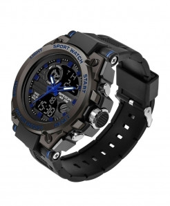Sanda  Blue Sports LED Digital Waterproof Military Watch