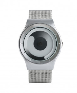 YISUYA White Silver Unique Gradual Change Turntable Color Wristwatch