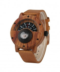 YISUYA Woody Brown Unique Wood Retro Compass Watch