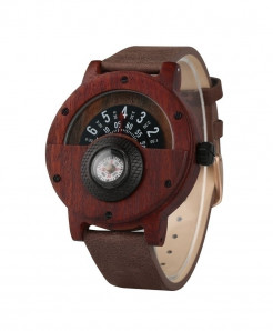 YISUYA Classical Reddish Brown Unique Wood Retro Compass Watch