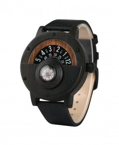 YISUYA Classical Black Unique Wood Retro Compass Watch