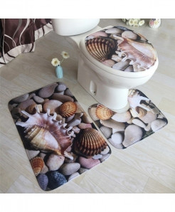 Sea Shells Printed Flannel Anti-Slip Bath Mat