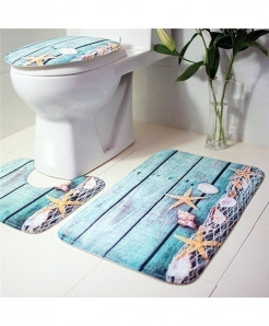 Pattern Printed Flannel Anti-Slip Bath Mat