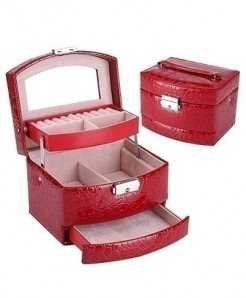 Red 3 Layers Jewelry Boxes Makeup Organizer