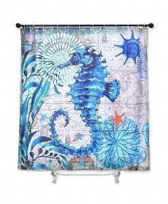 Sea Horse Print Waterproof Bathroom Curtain