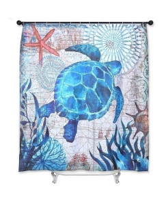 Sea Turtle Print Waterproof Bathroom Curtain