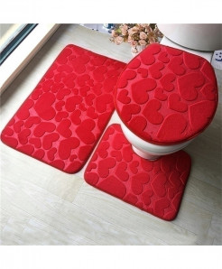 Red Heart Flannel Anti-Slip Bath Mat