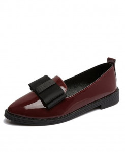 MCCKL Wine Red Patent Leather Elegant Low Heels Slip On Flats
