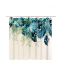 Leaves Fur Print Waterproof Bathroom Curtain