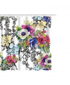 Floral Print Waterproof Bathroom Curtain