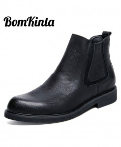 BomKinta Black Leather British Style Chelsea Boots