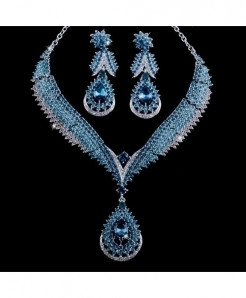 YOUFIR Blue Rhinestone Crystal Jewelry Set