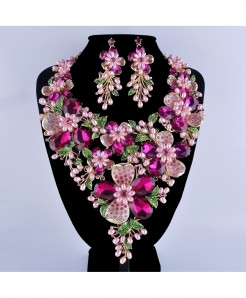 Fuchsia Rhinestone Golden Plated Flower Jewelry Set