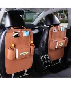 KEOGHS Brown 1pc Backseat Multi-Pockets Storage